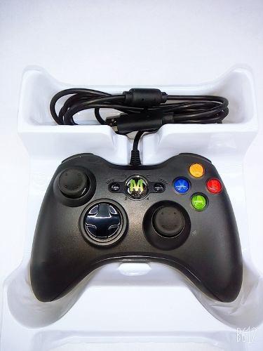 Control Usb Alambrico Para Xbox 360 Y Pc. Negro Mega Fire