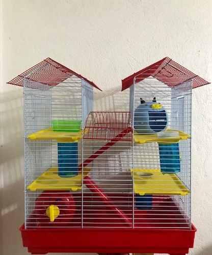 Jaula Para Hamster Equipada 2 Aguas (45.5x28.5x51cm)
