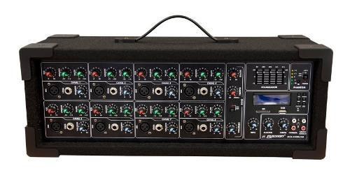 Mezcladora Con Amplificador De 8 Ch 2200w Usb Bluetooth 1408