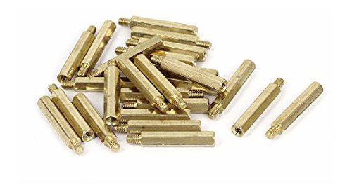 Uxcell M4x30 6mm Hembra Macho Roscado Latón
