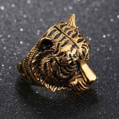 Anillo Acero Inoxidable Tigre Dorado, Negro O Plateado