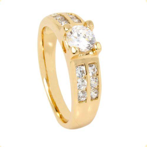 Anillo Compromiso De Oro Lamin 18k Zirconia Calidad Diamante