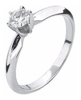 Anillo Con Diamante Natural Redondo De 20 Pts. En Oro De 14k