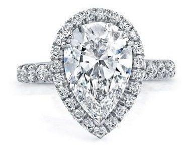 Anillo De Compromiso Con Diamante Pera Y 30 Diamantes Oro14k