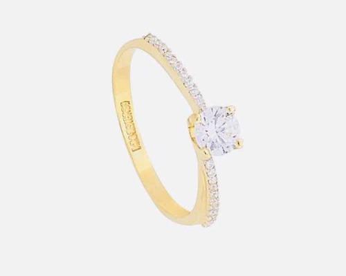Anillo De Compromiso Oro 14 K 17 Diamantes 0.45 Ct