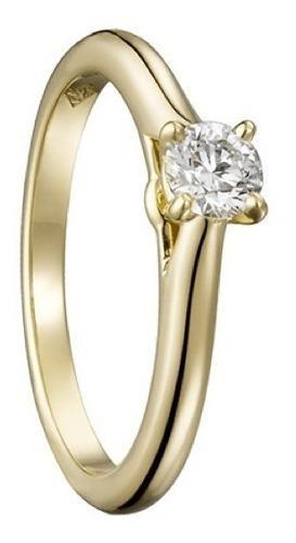 Anillo De Oro 18k Con Diamante Cultivado Redondo De 30 Pts.