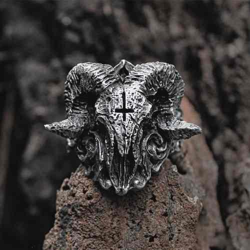 Anillo Satán Demonio Cabra Acero Inoxidable Ritual Calavera