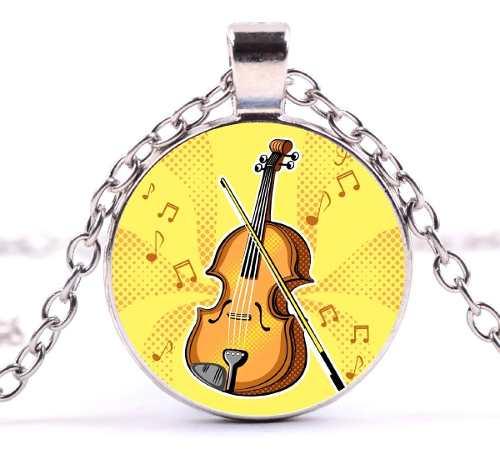 Collar Violín Dije Violín Instrumento Musical Collar Moda
