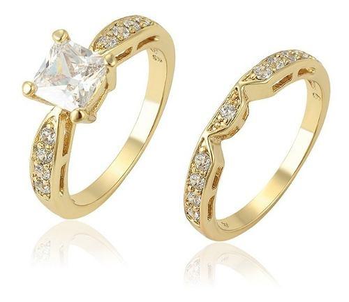 Fino Anillo Compromiso Oro 14k Lam Zirconias Corte Diamante