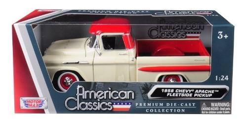 Chevy Apache  Pickup Cream Red Motor Max Escala1/24
