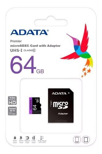 Paquete 10 Memorias Micro Sd 64gb Adata Clase 10 Mayoreo