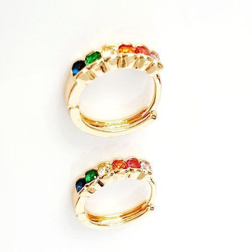 Aretes Arracadas Oro 18k Lam Y Zirconias Colores