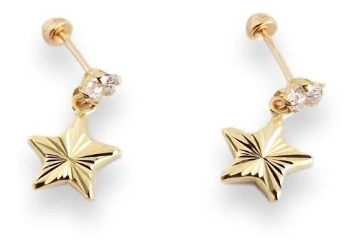 Aretes Broquel Estrella Colgante Para Mujer Oro Sólido 10k