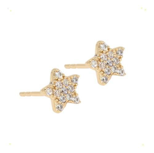 Aretes Broqueles De Oro Laminado 18 De Estrellas Y Swarovski