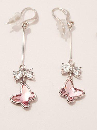 Aretes De Mariposa Cristal Rosa De Oro Blanco Lam. Envio Gra