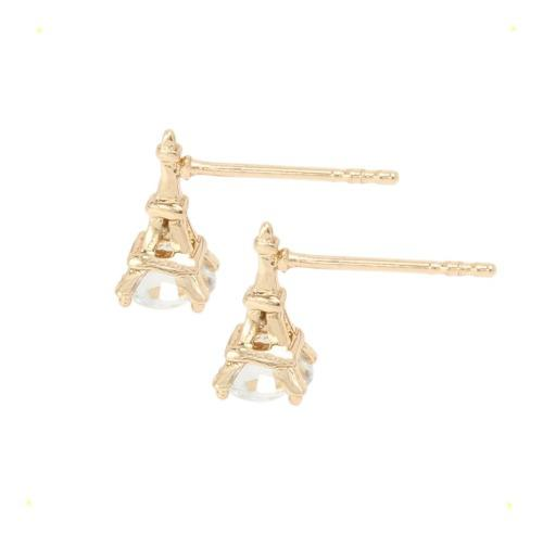 Aretes De Oro 14k Lam Y Zirconia Diamante Torre Eiffel Paris