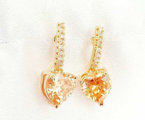 Aretes De Oro 18kt Lam. Con Zirconia (Imitacion Diamante)