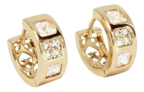 Aretes De Oro Lam 18k Para Niña Cristales Swarovski Colores
