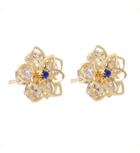 Aretes De Oro Laminado 18k De Flores Cristales Swarovski
