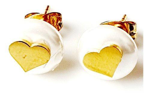 Aretes De Perla Corazón Oro Lam 18k + Estuche