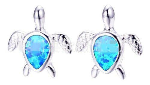 Aretes De Tortuga Opal Azul De 1.5 Cm Estuche Y Envio Gratis