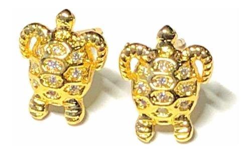 Aretes De Tortuga Oro Lam Con Zirconia Oferta.