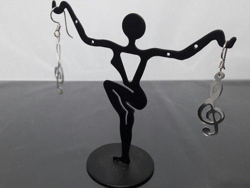 Aretes Nota Clave De Sol Plata Ley 925 Musica Joyeria Fina