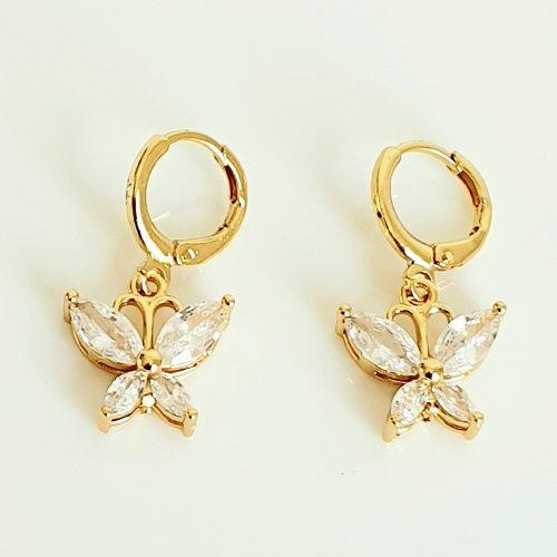 Aretes Oro 18k Lam Mariposa Zirconia + Estuche