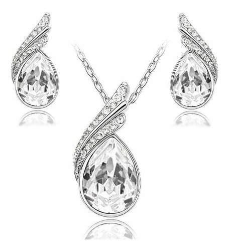Aretes Y Collar Set Chapa Oro Con Cristales Swarovsk