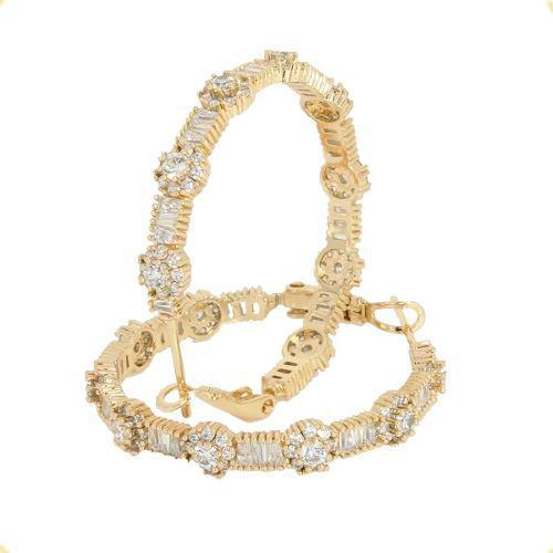 Arracadas De Oro 18k Lam Con Cristales Y Piedras Swarovski