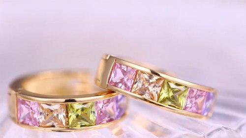 Elegantes Arracadas De Oro Lam. 18k Con Cristal Swarovski