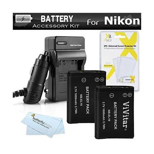2 Batería Y El Cargador Kit Para Nikon Coolpix S,