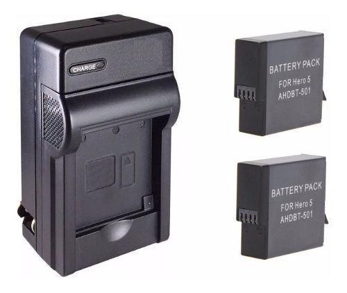 Kit 1 Cargador + 2 Baterías Para Ahdbt-501 Gopro Hero 5 6