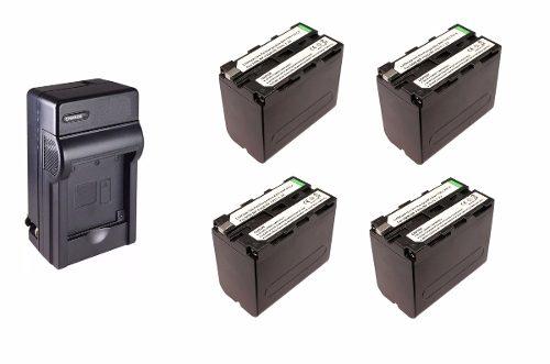 Kit 1 Cargador + 4 Baterias Np-f960 Para Sony Np- F970