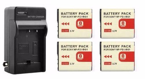 Kit Cargador + 4 Baterías Para Sony Np-bg1