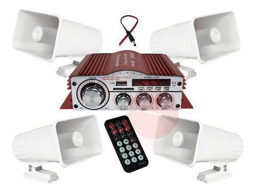 Kit Perifoneo Amplificador Auxiliar Usb Y 4 Trompetas Auto