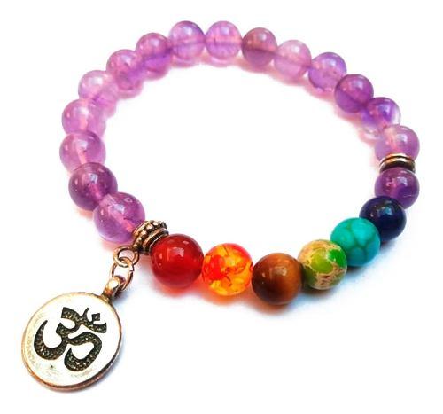 Pulsera Cuarzo Amatista 7 Chakras Piedra Mandala Yoga Om