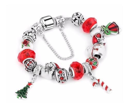 Pulsera Estilo Pandora 15 Charms Especial Navidad