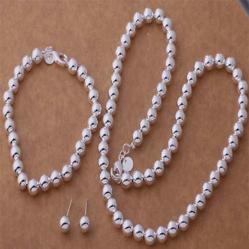 Set Para Mujer Plata Ley.925 Collar Aretes Pulsera