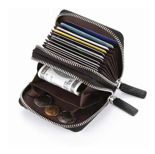 Tarjetero Billetes Monedas Tarjetas Zipper Doble Acordeon