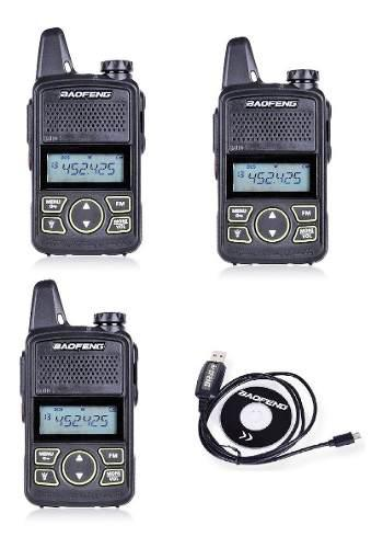 3 (tres) Mini Radio Baofeng Bf-t1 Uhf + Cable Programacion