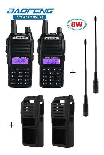 8w Dos Radios Baofeng Uv-82 Hp + 2 Antena Nagoya + 2 Fundas
