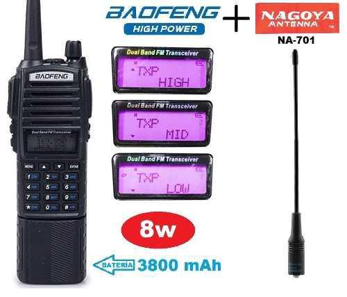 8w Dos Radios Baofeng Uv-82 Hp 3800 Mah + Nagoya M. S. I.
