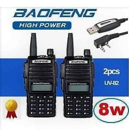 8w Dos Radios Baofeng Uv-82 Hp Vhf/uhf + Cable Programacion