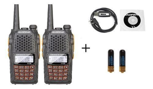 Dos Radio Baofeng Uv-6r Vhf/uhf 5w.+ Cable + 2 Mini Antenas