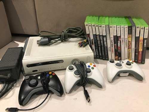 Xbox 360 Con 3 Controles Y 17 Juegos En Físico No Digitales