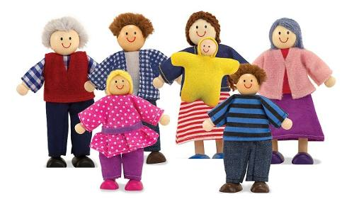 Familia Madera Y Tela 7 Personas Melissa Wooden Doll Family
