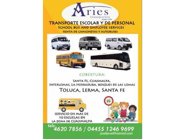Renta de Camionetas y autobuses, Transporte escolcar