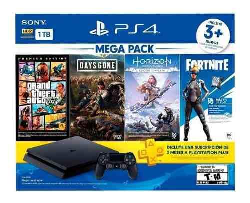 Consola Ps4 1tb Megapack 3 Juegos + Fortnite + 3 Meses Plus