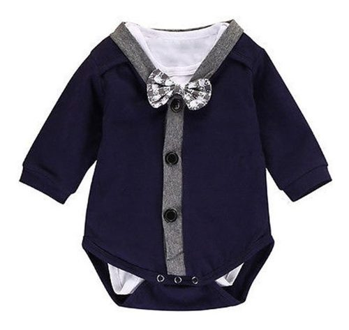 Mameluco De Bebé Niño Modelo Traje Corbata Algodón